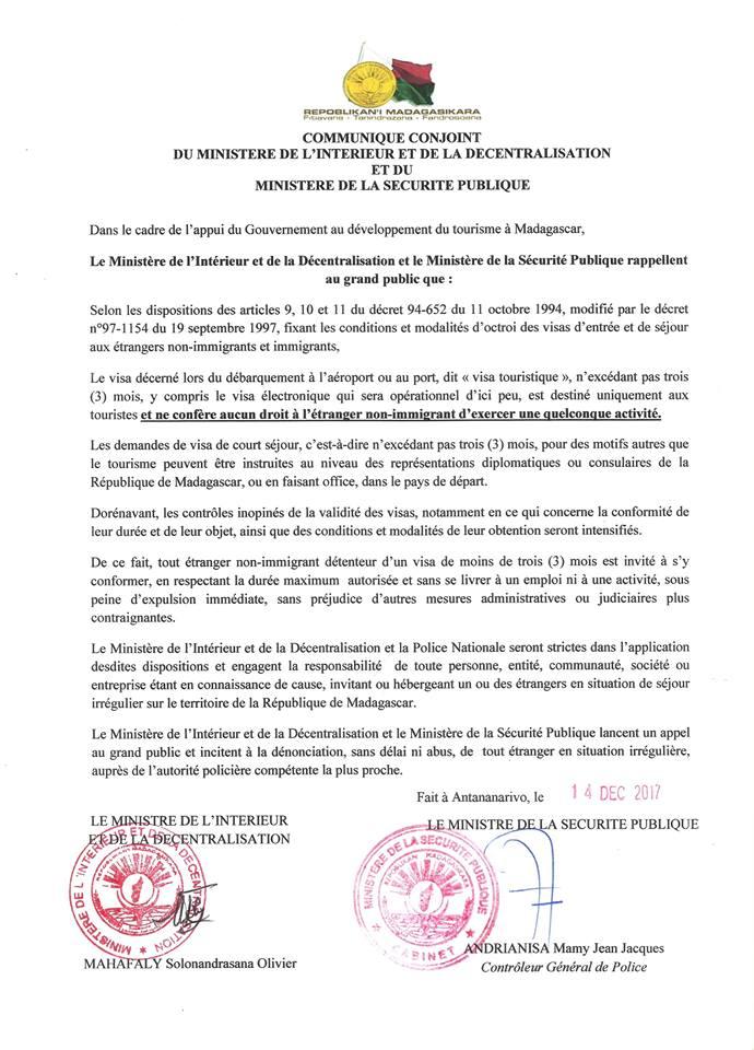 Communiqu du minist re de l 39 int rieur sur les visas d for Adresse ministere de l interieur